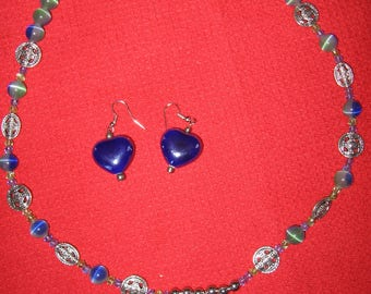 Beautiful Handcrated Heart Necklace with Fabulous Beads and Earrings