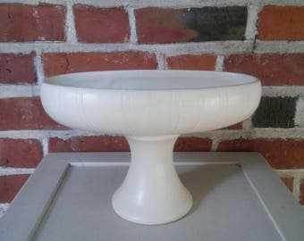 Vintage McCoy Floraline White Ceramic Planter Footed Pedestal Vase Oblong Ribbed Art Pottery Creamware 463