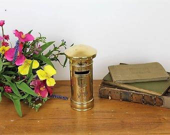 Millitaria WW1 & WW2/Trench Art/Brass Artillery Shell/Brass Postal Box/Folk Art (Ref1962E)