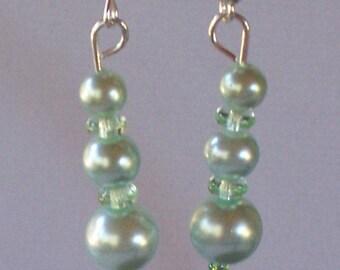 Light Blue Shimmering Pearl Drop Earrings. Free Shipping