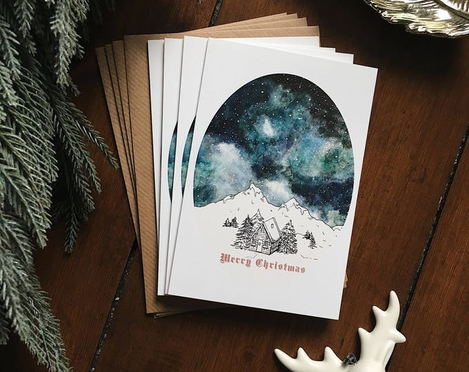 Starry Sky Christmas Card Set - Pack of 4