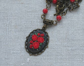 Red necklace roses jewelry bohemian necklace pendant Embroidery gift for women Serpentine necklace stone jewelry Long necklace gift for wife