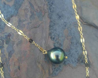 Peacock Tahitian Pearl Y-style Necklace in Gold