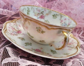 RARE Haviland Limoges Schleiger 72 Cup and Saucer, Haviland Limoges French Cup and Saucer, Double Gold, 1881 to 1931, 10 Available