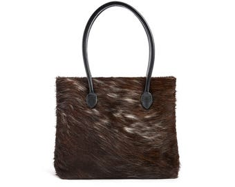 Cowhide Tote | Brown & White Cowhide Tote | Handcrafted in England