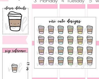 Kawaii Coffee Planner Stickers | 021