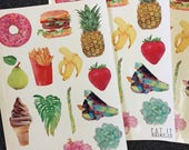 Watercolour Food Stickers 14 Glossy Stickers per sheet plus gemstone and tropical plants