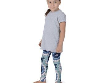 Kids Yoga Clothes, Girls Boho Leggings, Ocean Blue Yoga Pants, Children's Leggings