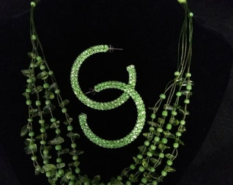 Vintage Lime Green Necklace & Earring Set