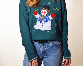 1990's ugly christmas/tacky holiday party/ ugly snowman sweater / women's size medium
