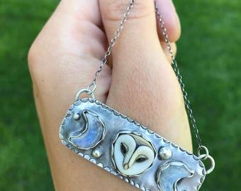 Triple Goddess Necklace, Owl Necklace, Moonstone Necklace, Animal Necklace, Owl Pendant, Owl Jewelry, Tribal Necklace, Fantasy Necklace