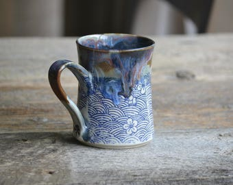 Handmade ceramic mug blue waves