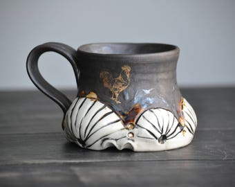 Handmade pottery mug antique organic look with gold hens and chickens gold accents