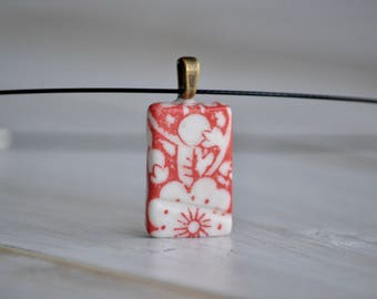 Red cherry flowers porcelain rectangular pendant necklace
