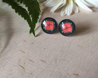 red roses earrings, gift for her