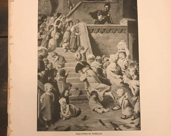 Antique Print - Typogravure, Pied Piper of Hamelin, Once Upon a Time, Robert Browning, 1892 Romance Fiction Art (C245)
