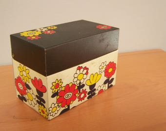 Vintage Recipe Box from Ohio Art - Black Lid, Ivory Base with Bright Orange & Yellow Flowers - RETRO - contains Recipes!