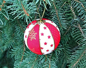 Red white Christmas tree decor handmade Xmas ball decoration fabric tree toys Winter holiday gift for Christmas balls vintage inspired
