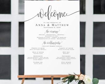 Wedding program template Summer wedding program sign Rustic welcome wedding sign Wedding program printable template Instant download #vm41
