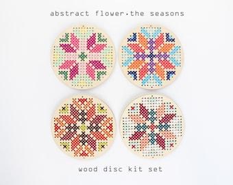 Abstract Flower - The Seasons Set - Easy DIY wood cross stitch kit - Beginners Cross stitch kit - Kids cross stitch kits