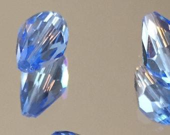 Blue Crystal Teardrop Beads - Light Sky Blue Teardrop Beads 12x7mm - Package of 6 (#264)