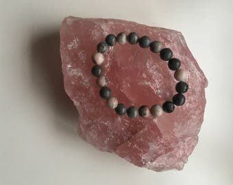 Pink Zebra Jasper Stretch Bracelet 8mm