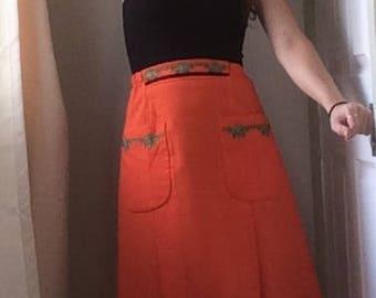 Vintage Woman's Orange 1950s/ 1960s A-line Summer Skirt, UK 6, 8, 10