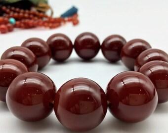 Red agate bracelet, Big size