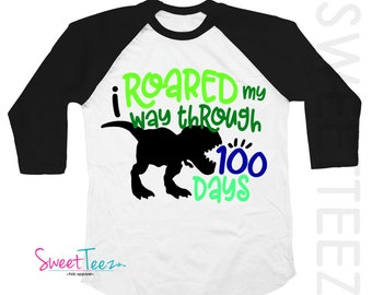 100 days of School Shirt for Boy Dinosaur Raglan Shirt with Gift for a Boy