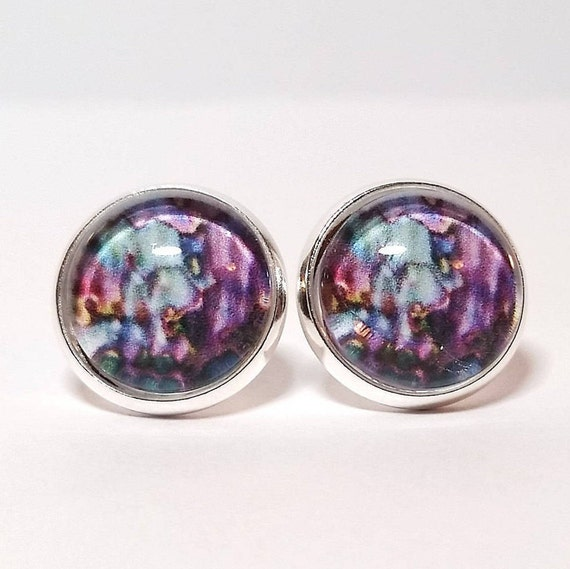 WHOLESALE-Abalone Art Earrings, Available in silver, bronze or rose gold, Stud or French Wire