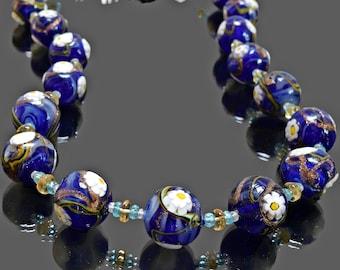 """Vintage Necklace, Designer Necklace, Gemstone Necklace, Floral Necklace, Murano Bead Necklace, Handmade Necklace, 24"""", Artisan Necklace"""