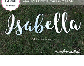 Cursive Name, Nursery Name Sign, Girl Nursery, Baby, Name Sign, Large, Metal Wall Art, Script Name, Girl Name, Crib Art, Personalize, Luxe