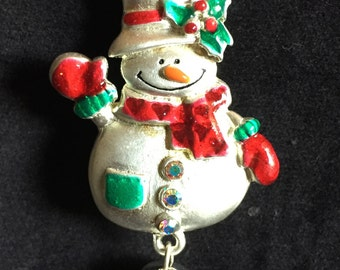 Vintage Christmas Snowman Pin / Brooch