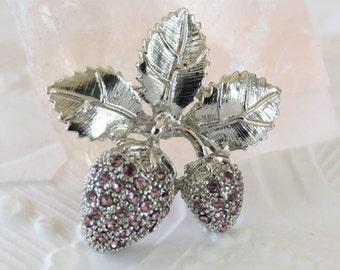 Vintage Pale Pink Rhinestone Strawberries Brooch Pin Silver Tone