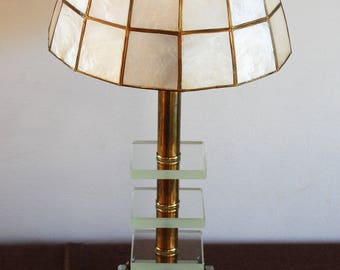 Vintage Mid Century Stacked Cut Glass Table Lamp- Hollywood Regency Light