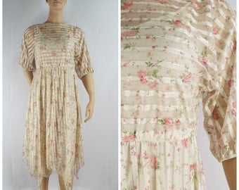 Vintage Womens 1970s Sheer Nude Color Floral Roses & Ribbon Stripes Handkerchief Hem Dress with Attached Slip | Size M