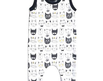 baby romper, black romper, white romper, neutral romper, cat romper, gender neutral romper, knit romper, baby one piece, playsuit