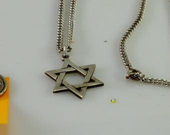 """Very Old Star of David Sterling on a Magnificent Old Sterling Chain (24"""")"""