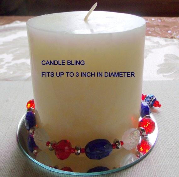 Red blue candle garland - sports team decor - 4th of july - patriotic design -  farm house decor - New England - pillar -  hostess gift