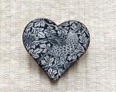 William Morris Brooch, William Morris Heart Shaped Brooch, Heart Brooch, Ceramic Brooch, Handmade Brooch, Floral Brooch, Bird Brooch.