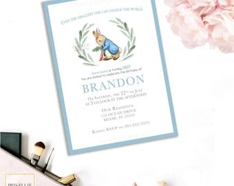 Peter Rabbit Birthday Invitation, Peter Rabbit Invitation, Classic Peter Rabbit Boy Birthday Invitation