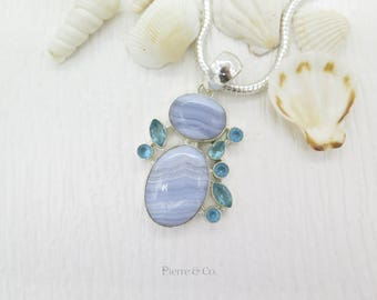 Blue Lace Agate Blue Topaz Sterling Silver Pendant and Chain