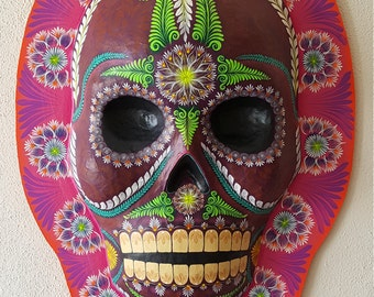 Day of the Dead Paper Mache Medallion Made to Order. Dias de los Muertos Medallones. Sugar Skull. Handmade and painted in Exquisite Detail.