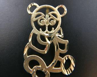 14K yellow gold panda bear pendant