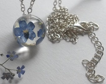 Forget me not necklace. Gewelry Gift for Her. Real Flower Jewelry