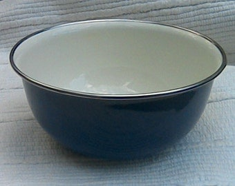 Vintage Enamel Bowl Blue With Sliver Trim Mid Century Enamel Serving Bowl White Interior Navy Blue Enamel Bowl Cobalt Blue Enamel Bowl