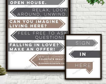 Modern Open House Sign In Set, Digital Print, Open House Flyer, Open House Sign, Open House, Sign In Sheet, Realtor Gift, Realtor Marketing