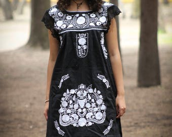 STUNNING Mexican dress//Embroidered sheer maxi dress//MEXICAN emboidered dress