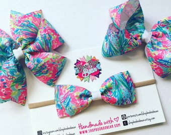 Fan Sea Pants, Lilly Pulitzer Inspired Hair Bow, Lilly Pulitzer Bow, Headband, Lilly Bow, Lilly Pulitzer Inspired Ribbon, Buy 5 Get 1 Free