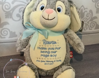 Cubbie Bunny Rabbit, Embroidered Baby Gift, Personalised Teddy Bear, Christening, Birth, Baptism, Stuffie, Birth Stats Personalized Cubby